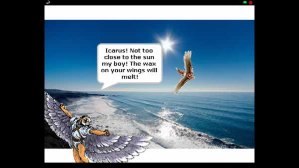 Icarus is flying too near the sun and his father is warning him that the wax on his wings will melt.