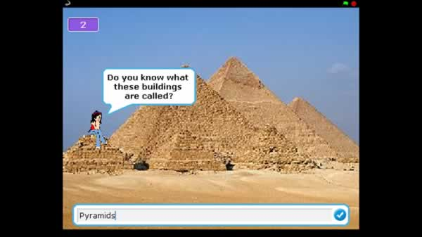 Picture of the pyramids with a girl asking if you know what they are called