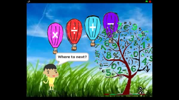 Image of balloons with mathematical symbols floating past a tree with numbers for leaves, and a boy saying Where to next?